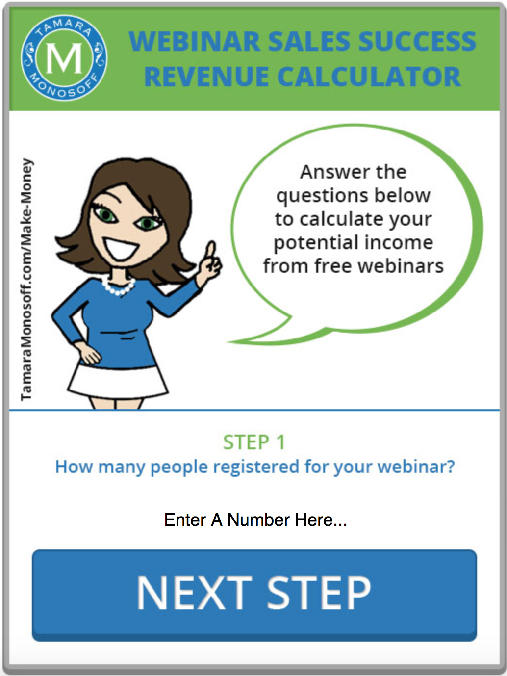 webinar sales success revenue calculator tamara monosoff webinar